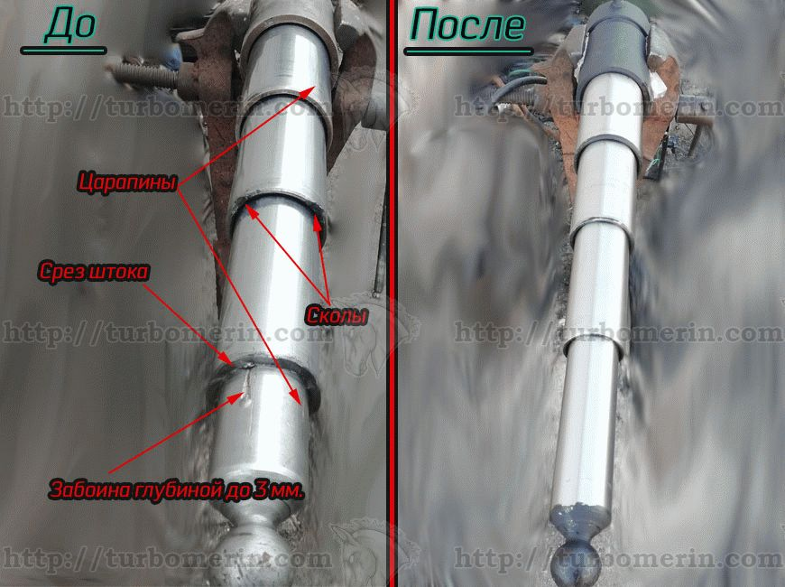 Фото гидроцилиндра ГАЗ-53 до ремонта и после ремонта