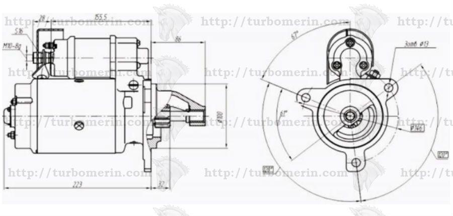 Размеры стартера 7402 24В 5,2кВт Двигатель Д-243 Д-245 Д-246 Евро 2