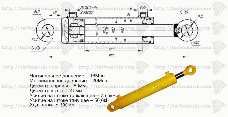 Гидроцилиндр 80 40 500 характеристики с размером и чертежом Ход штока 500 мм