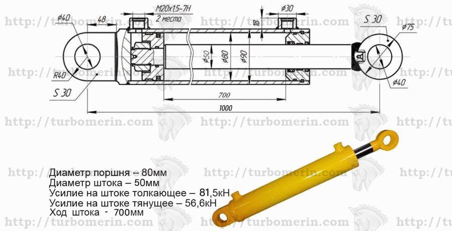 Гидроцилиндр 80 50 700 характеристики с размером и чертежом Ход штока 700 мм