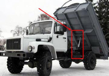 самосвал ГАЗ с поднятым кузовом и 3 штоковым ГЦ в сборе