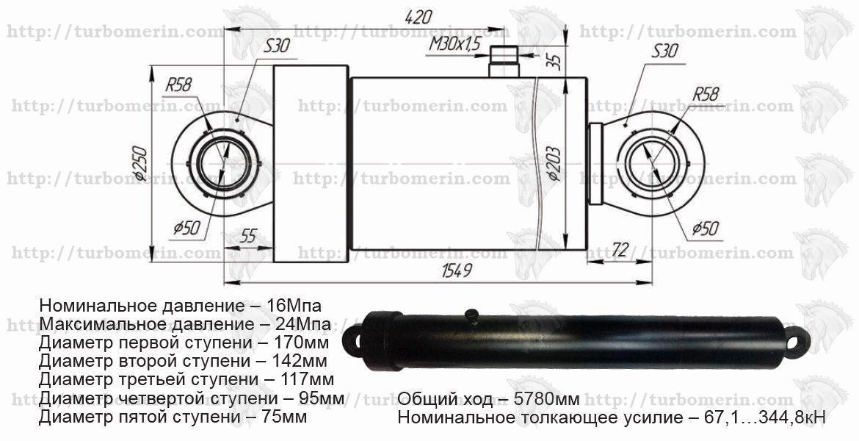 Гидроцилиндр КамАЗ 5 штоковый самосвала 65201 размеры с чертежом и техническими характеристиками