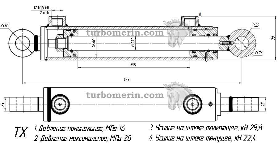 Гидроцилиндр 50 25 250 характеристики Размеры Чертеж Ход штока 250 мм