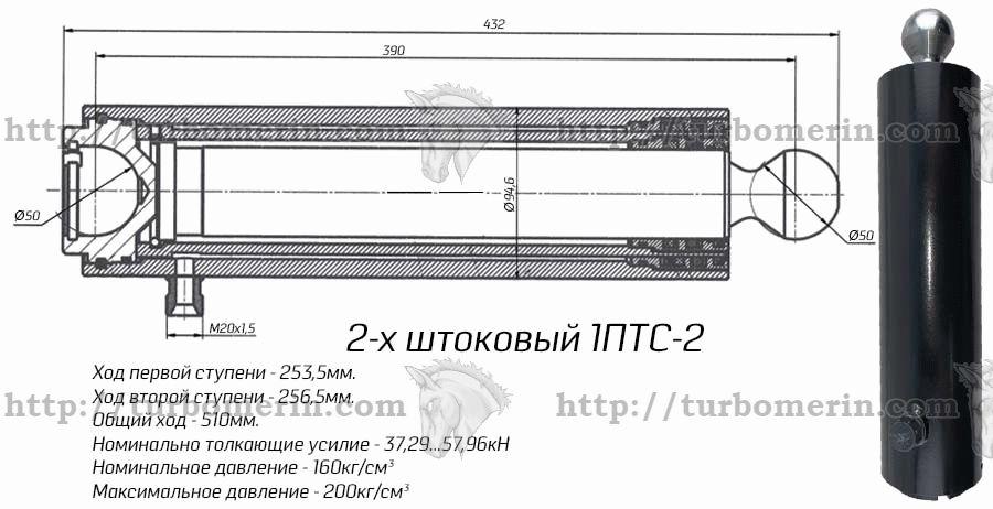 Размеры и чертеж гидроцилиндра 1ПТС 2 2-х штокового Характеристики