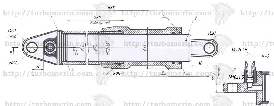 Гидроцилиндр 34-9-9 подъема жатки комбайна НИВА чертеж с размерами