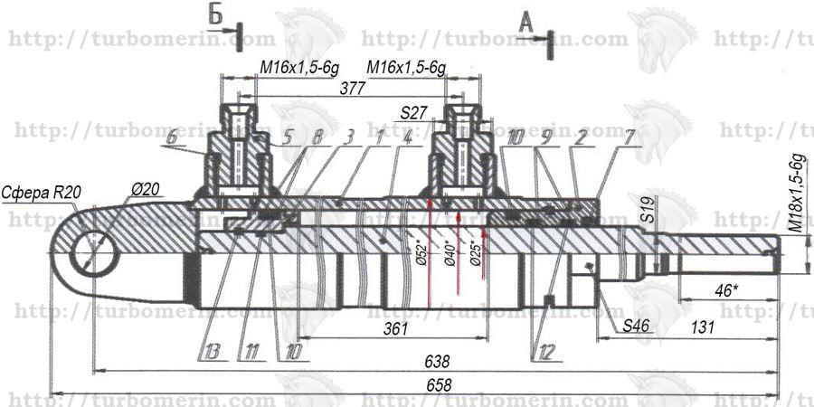 Гидроцилиндр ГА-80000 подъёма мотовила комбайна ДОН чертеж с размерами