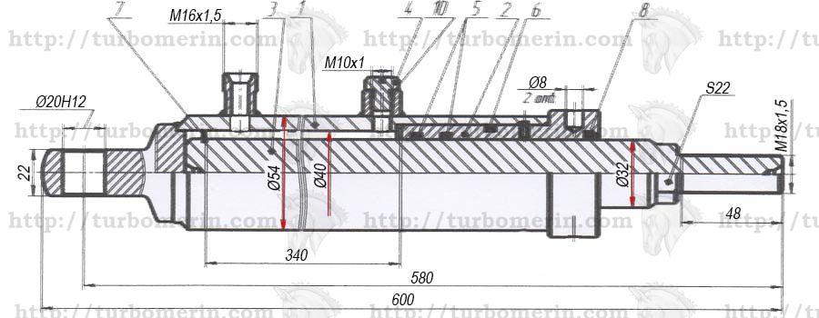 Гидроцилиндр ГА 81000 подъёма мотовила комбайна ДОН чертеж с размерами