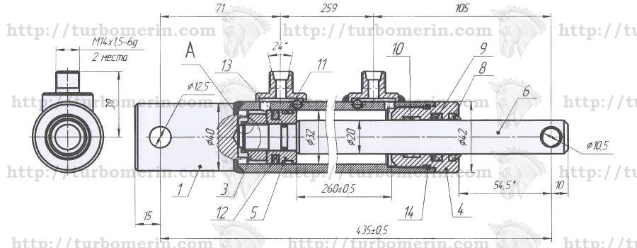 Гидроцилиндр горизонтального перемещения жатки комбайна Полесье чертеж с размерами