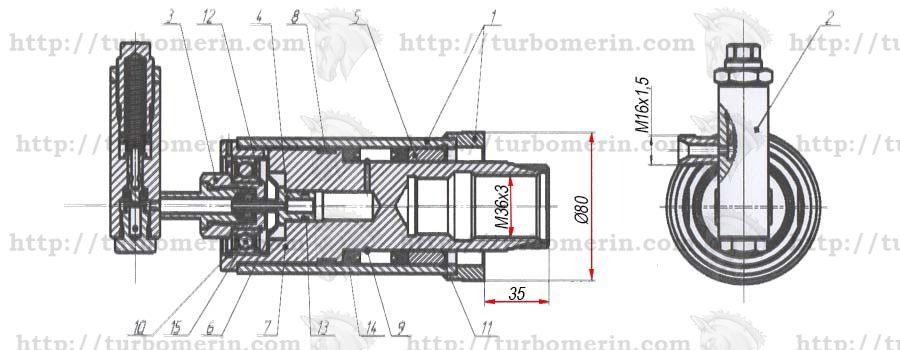 Гидроцилиндр ГА-76010 вариатора молотилки комбайна НИВА чертеж с размерами