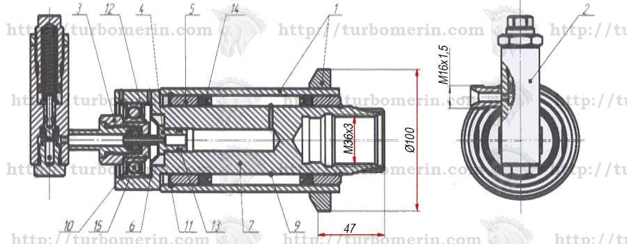 Гидроцилиндр ГА-76020 вариатора молотилки комбайна НИВА чертеж с размерами