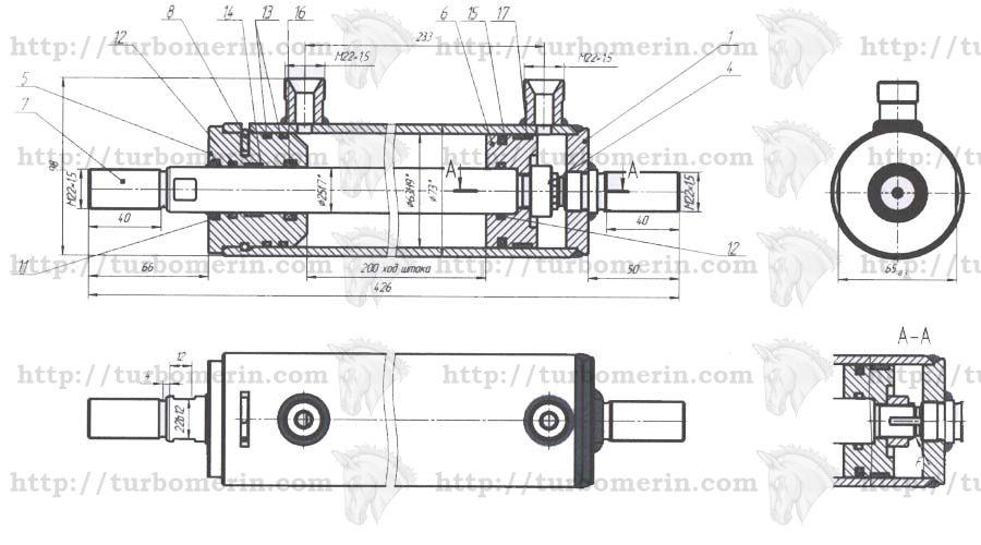 Гидроцилиндр поворота Полесье чертеж с размерами