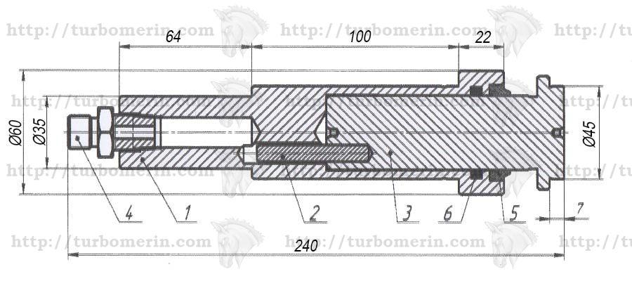 Гидроцилиндр Н 065.15.020-03 вариатора жатки комбайна НИВА чертеж с размерами