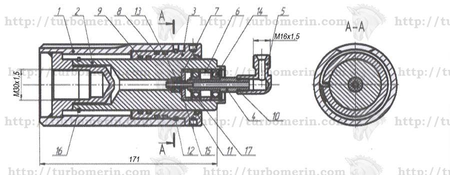 Гидроцилиндр вариатора барабана комбайна ДОН Вектор Акрос Полесье чертеж с размерами