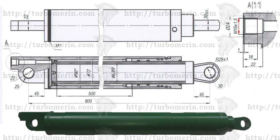 Гидроцилиндр подъёма жатки комбайна Енисей чертеж с размерами