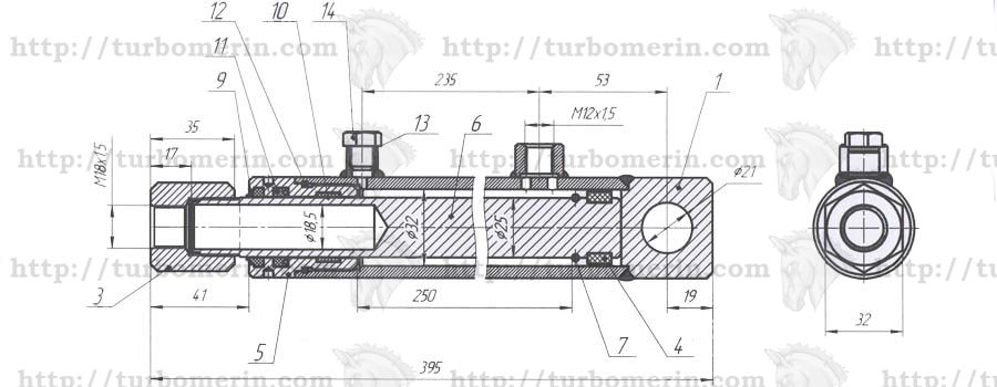 Гидроцилиндр вертикального перемещения жатки комбайна Полесье чертеж с размерами