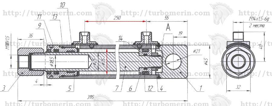 Гидроцилиндр подъема мотовила комбайна Полесье чертеж с размерами