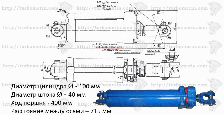 ЦС 100 400 Размеры и чертеж гидроцилиндра БДЮ-10-6А борона БДТ Ц100х400-3